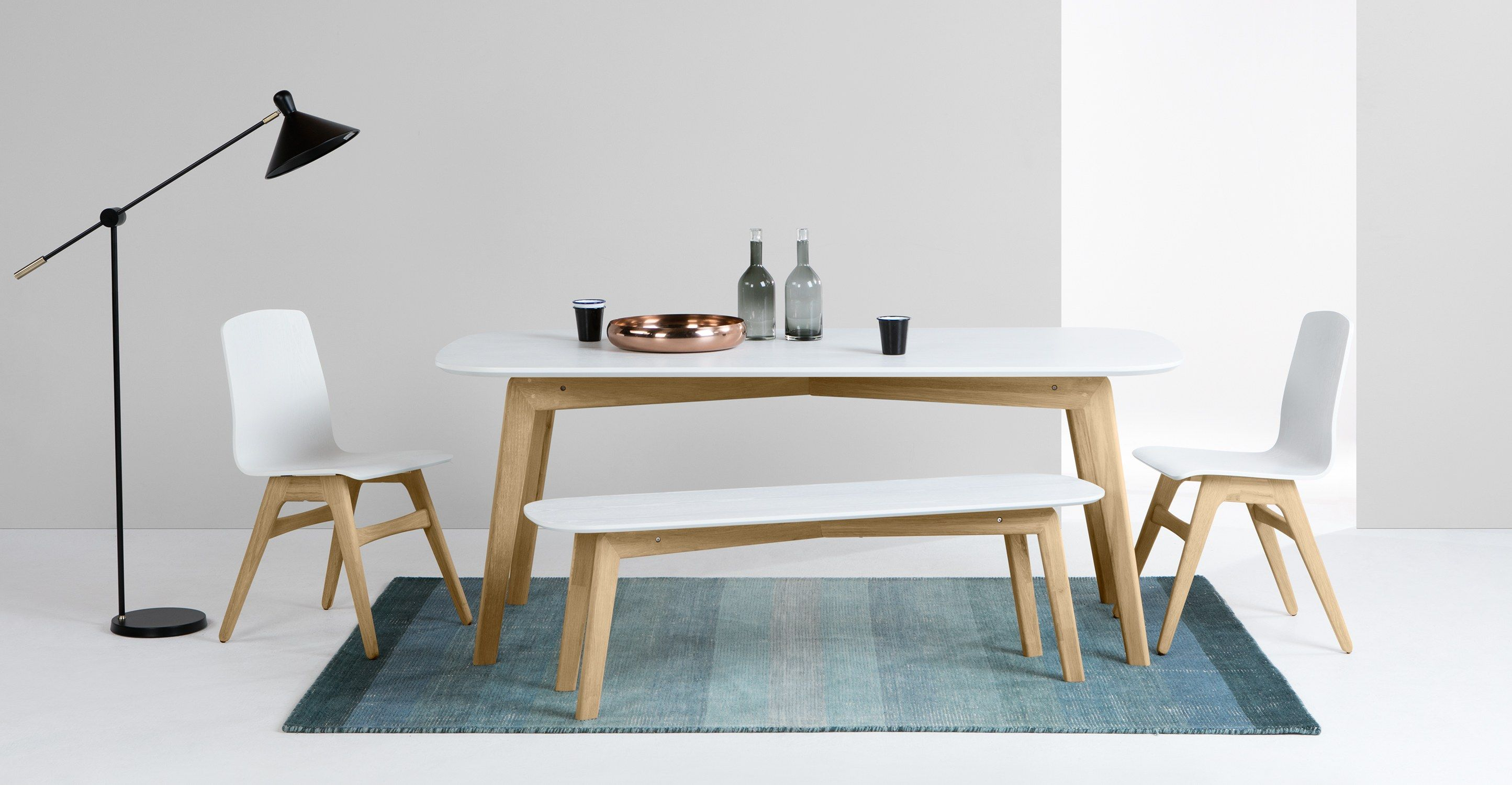 Buy The Chiltern 150Cm Oak And White Dining Table Set With Benches Extraordinary White Dining Room Bench Design Decoration