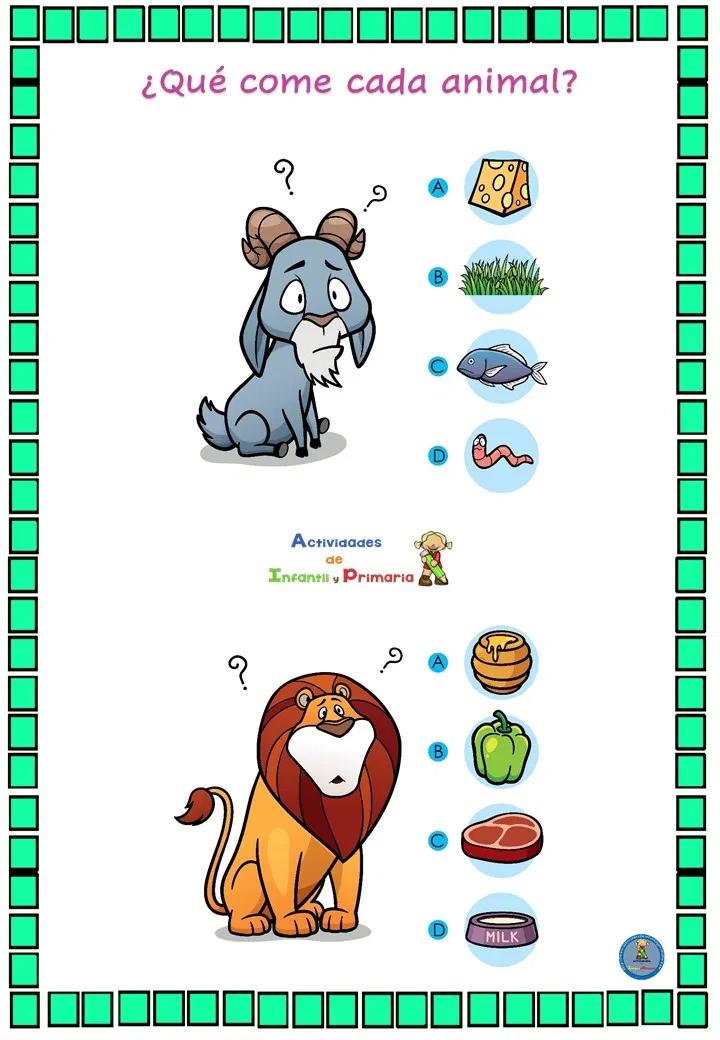 Divertido Juego De Lógica Qué Come Cada Animal Juegos De Logica Evaluaciones Para Preescolar Fichas