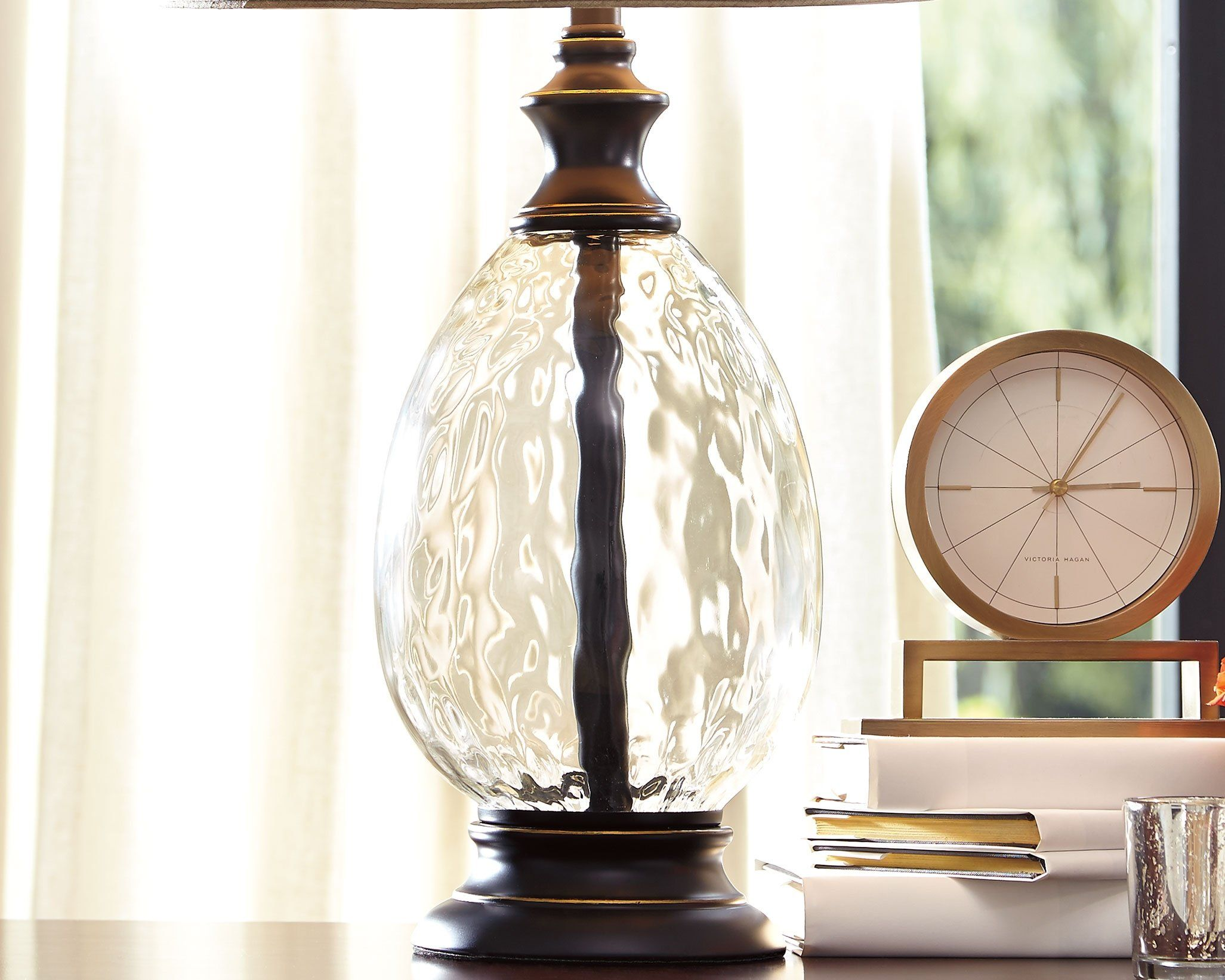 Ashley Furniture Signature Design Olivia Glass And Metal Table Lamp With Fabric Shade Set Of 2 Bronze Finish Click With Images Lamp Metal Table Lamps Fabric Shades