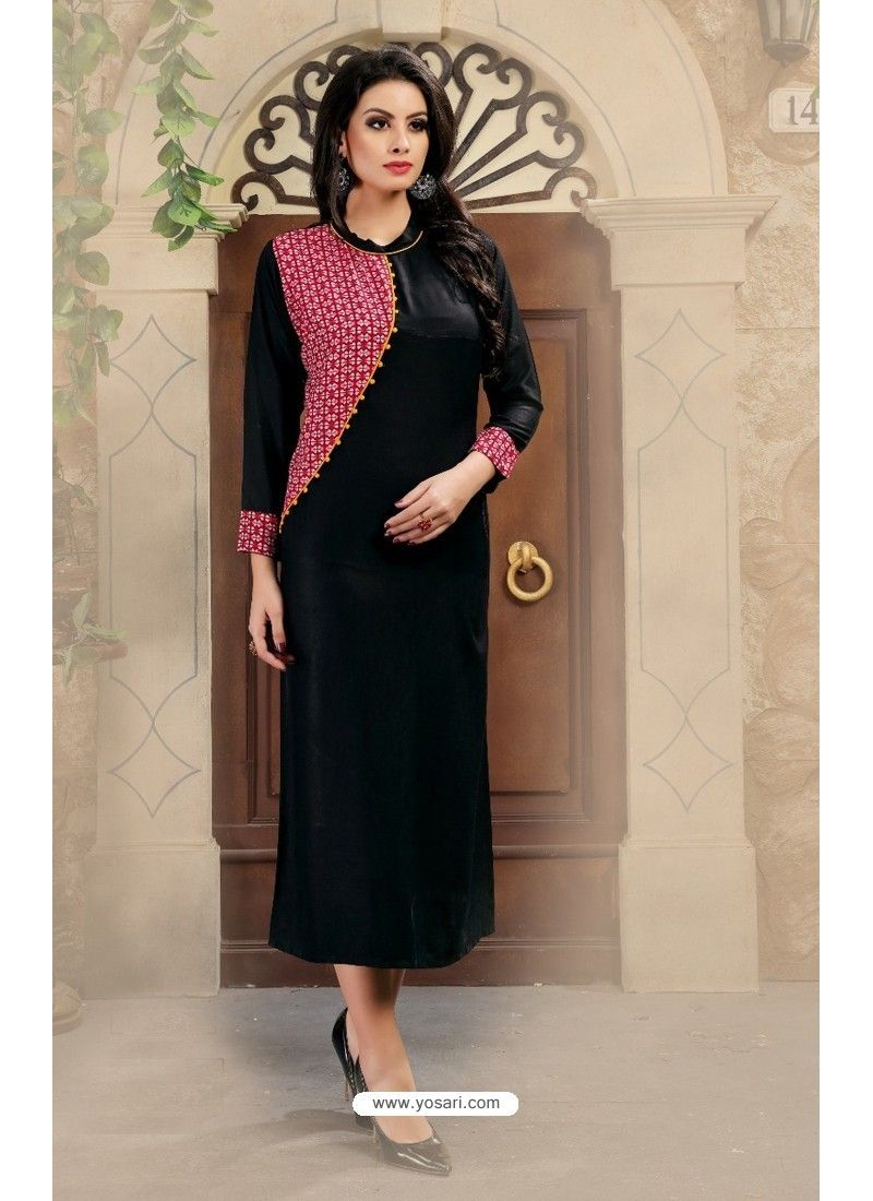 2d45cd3a98 Black Fancy Cotton Designer Readymade Kurti | KURTIS | Kurti designs ...