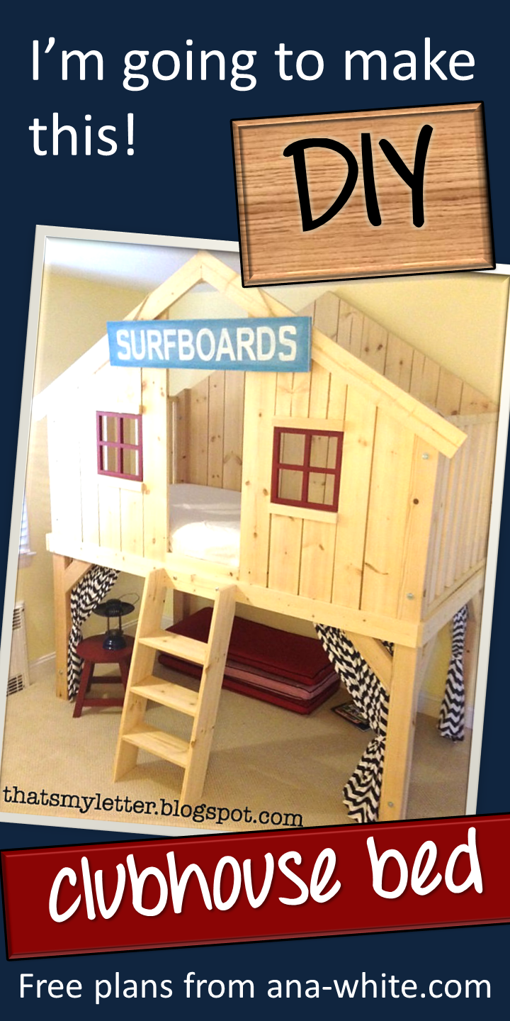 If I only had a son :) Ana White   Build a Clubhouse Bed   Free and Easy DIY Project and Furniture Plans