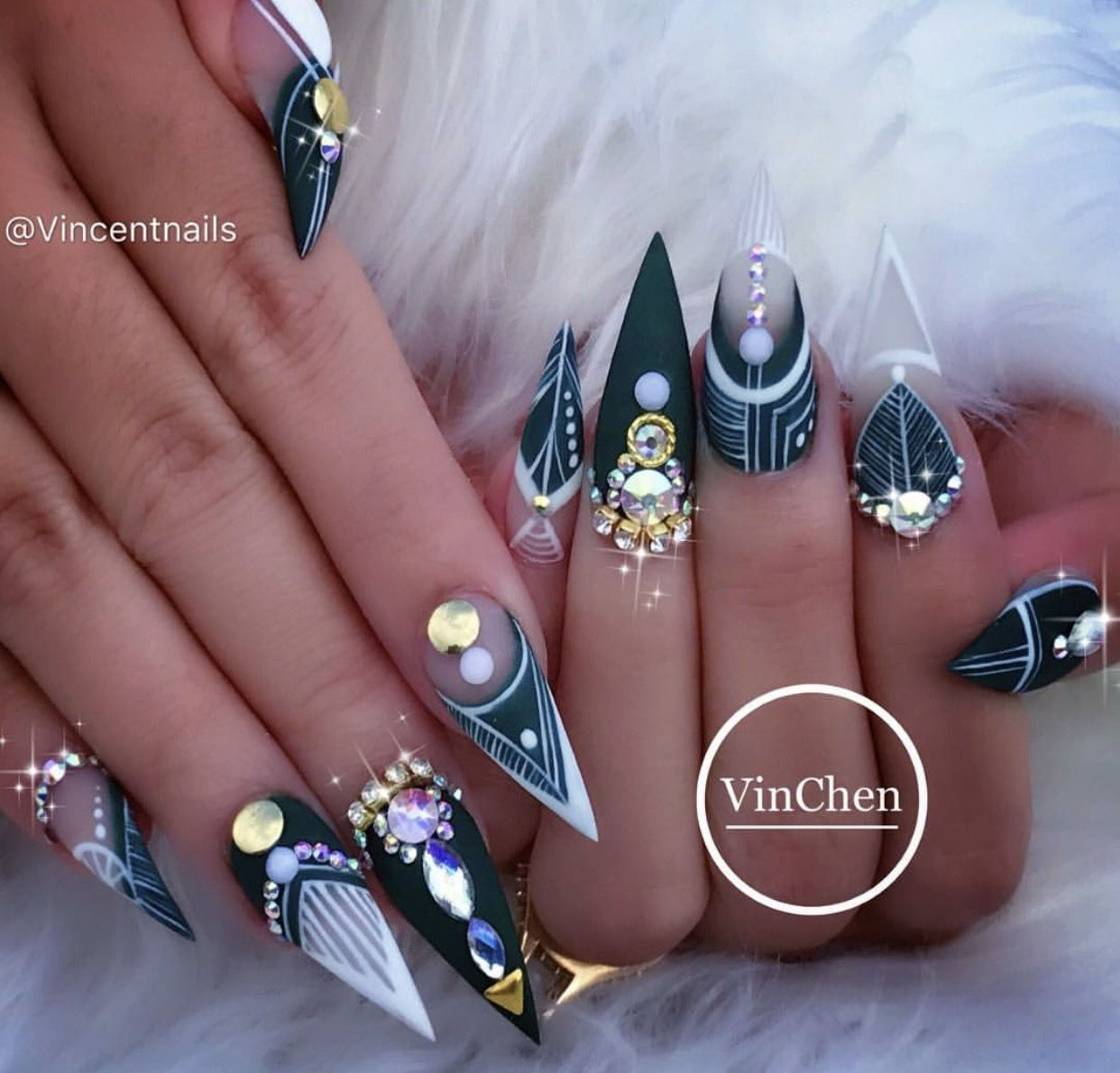 Emerald green matte Aztec 3D rhinestone stiletto nails | Nails ...