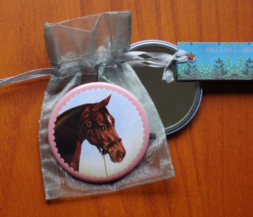 Horse stallion pocket mirror equestrian art Blaze by Marisol Spoon