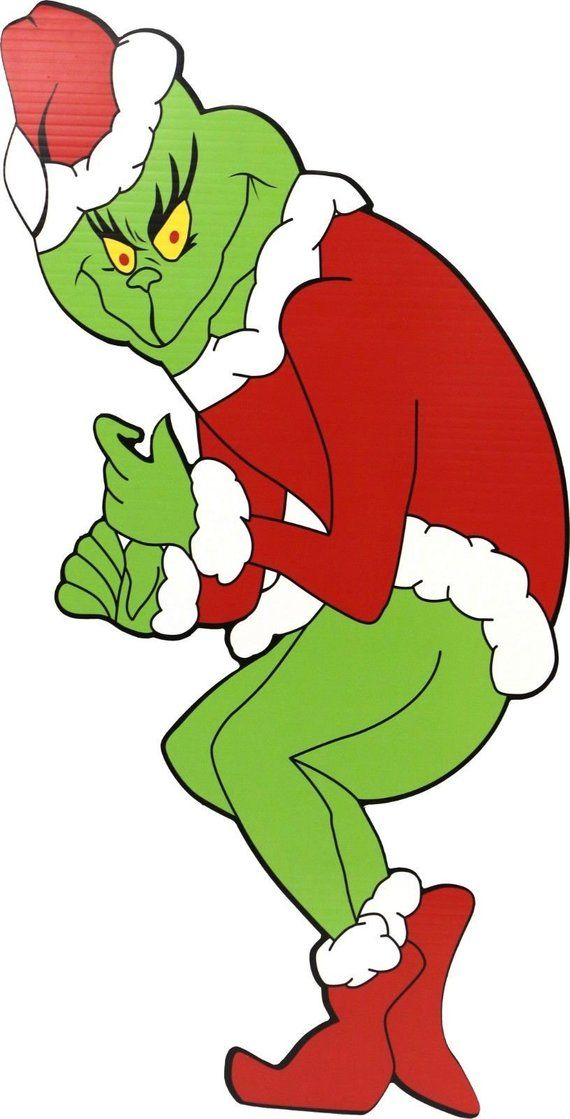 Grinch Stealing Christmas Lights Template.Huge 48h X 21w Grinch Yard Decoration Left Etsy Xmas