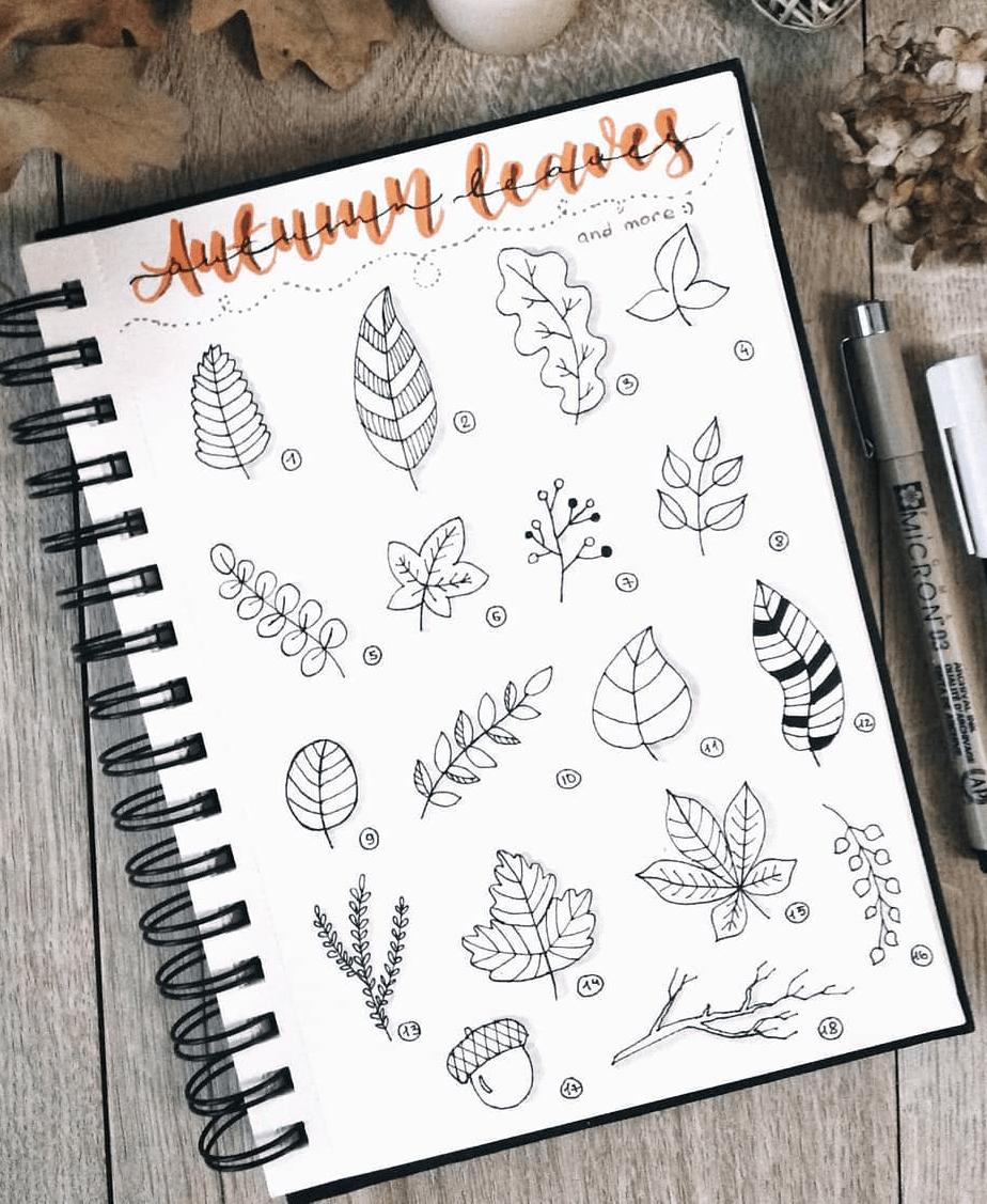 50+ Best Bullet Journal Doodle for Fall & Halloween