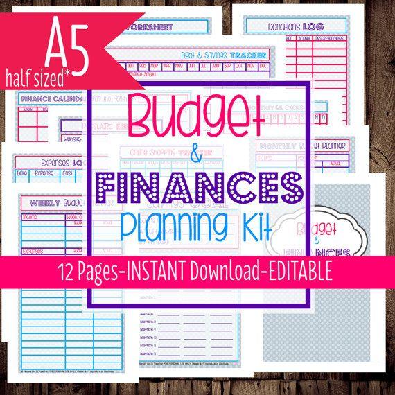 Printable Budget PlannerA Half SizedFilofax InsertFamily