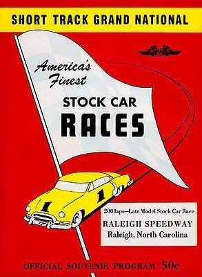 1953 Stock Car Race Raleigh Speedway Nc Program Cover Poster