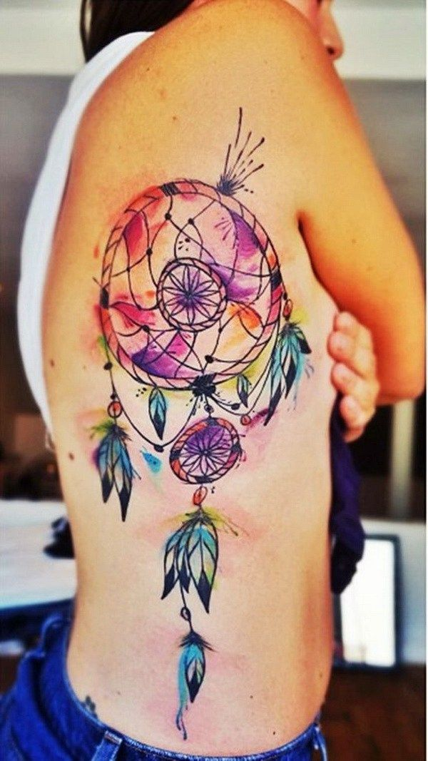 Dream Catcher Tattoo On Side Prepossessing 45 Dreamcatcher Tattoo Design Ideas  Dream Catchers Catcher And Design Ideas
