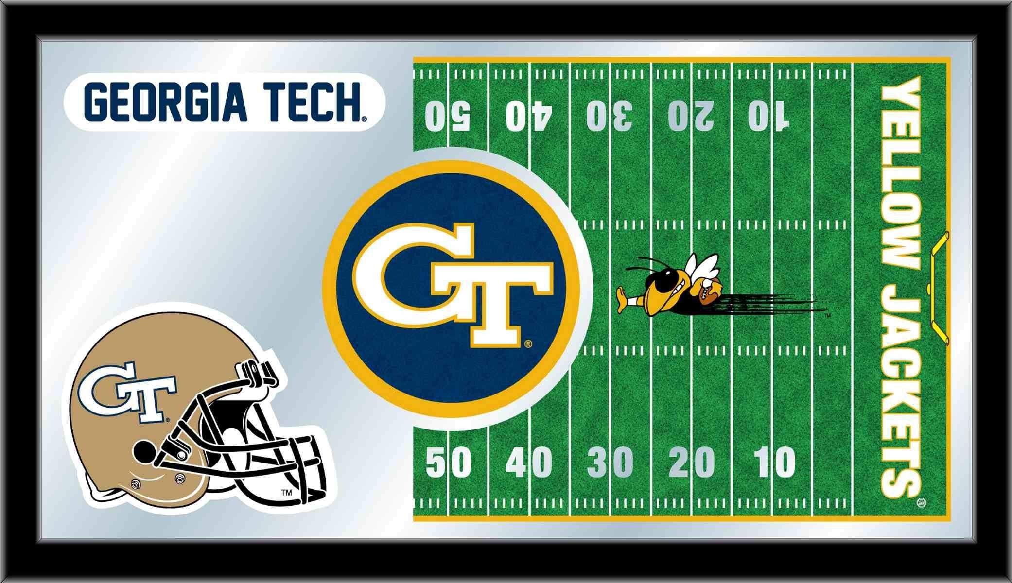 Georgia Tech Yellow Jackets Hbs Football Framed Glass Wall Mirror