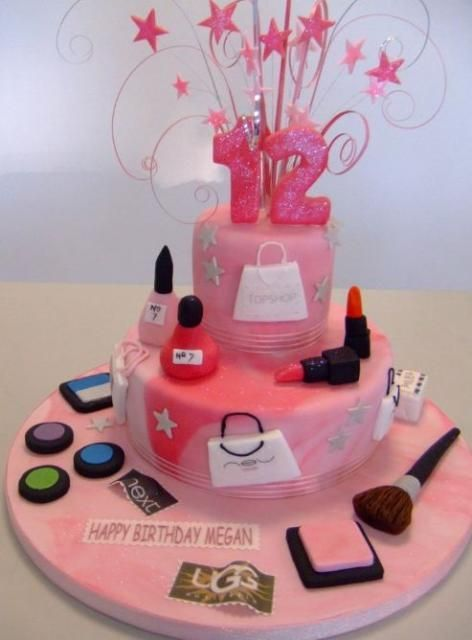 Pink 12th birthday cake in makeup and shopping themeJPG me