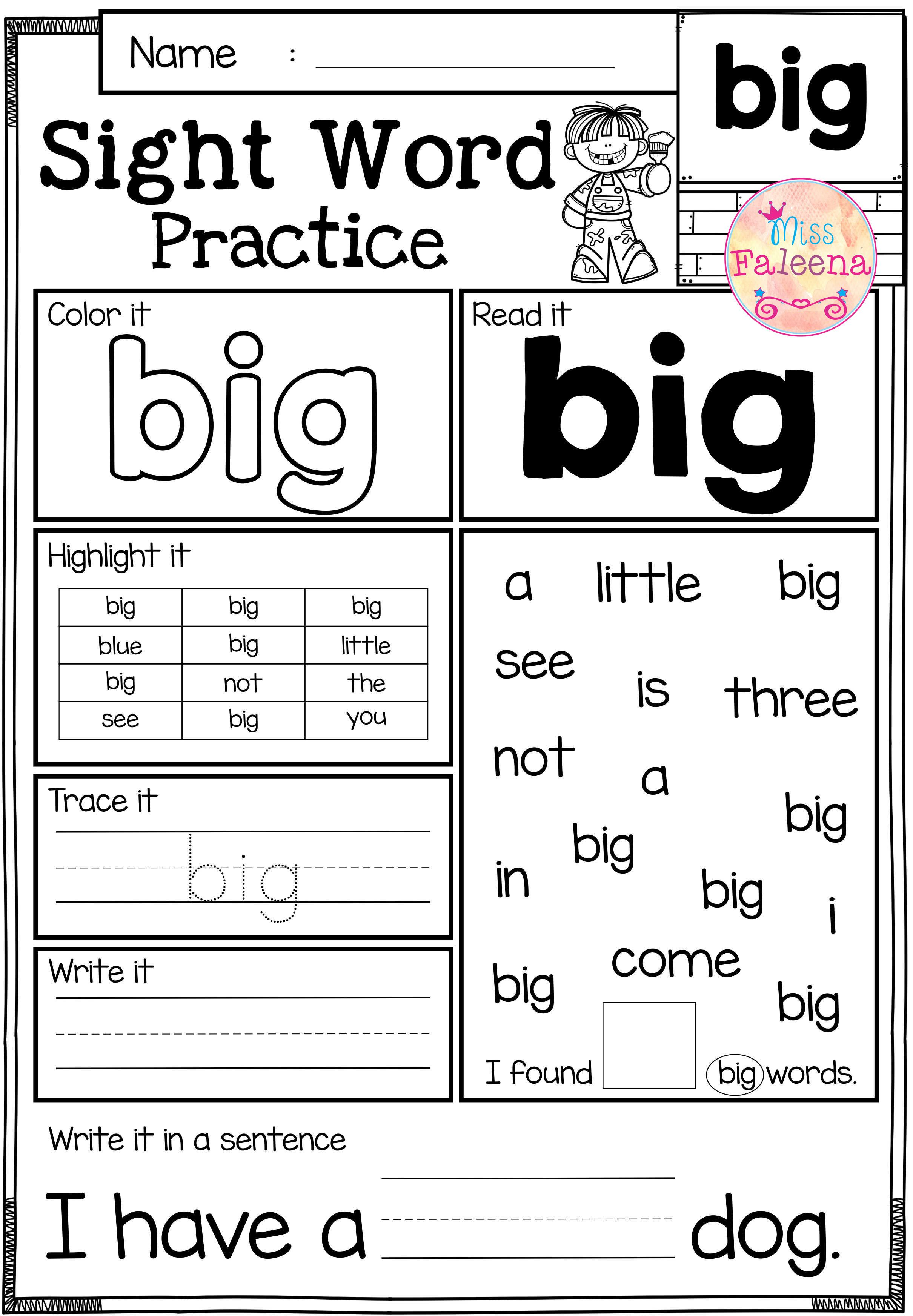 These Sight Word Practice Pages Are Great For Kindergarten And First Graders It Helps To Teach Chil Word Practice Sight Word Practice Sight Words Kindergarten