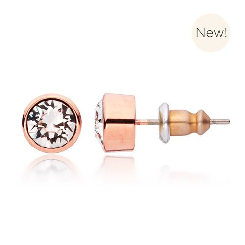 Harley Clear Crystal Earrings with Swarovski® Crystals Rose Gold Plated