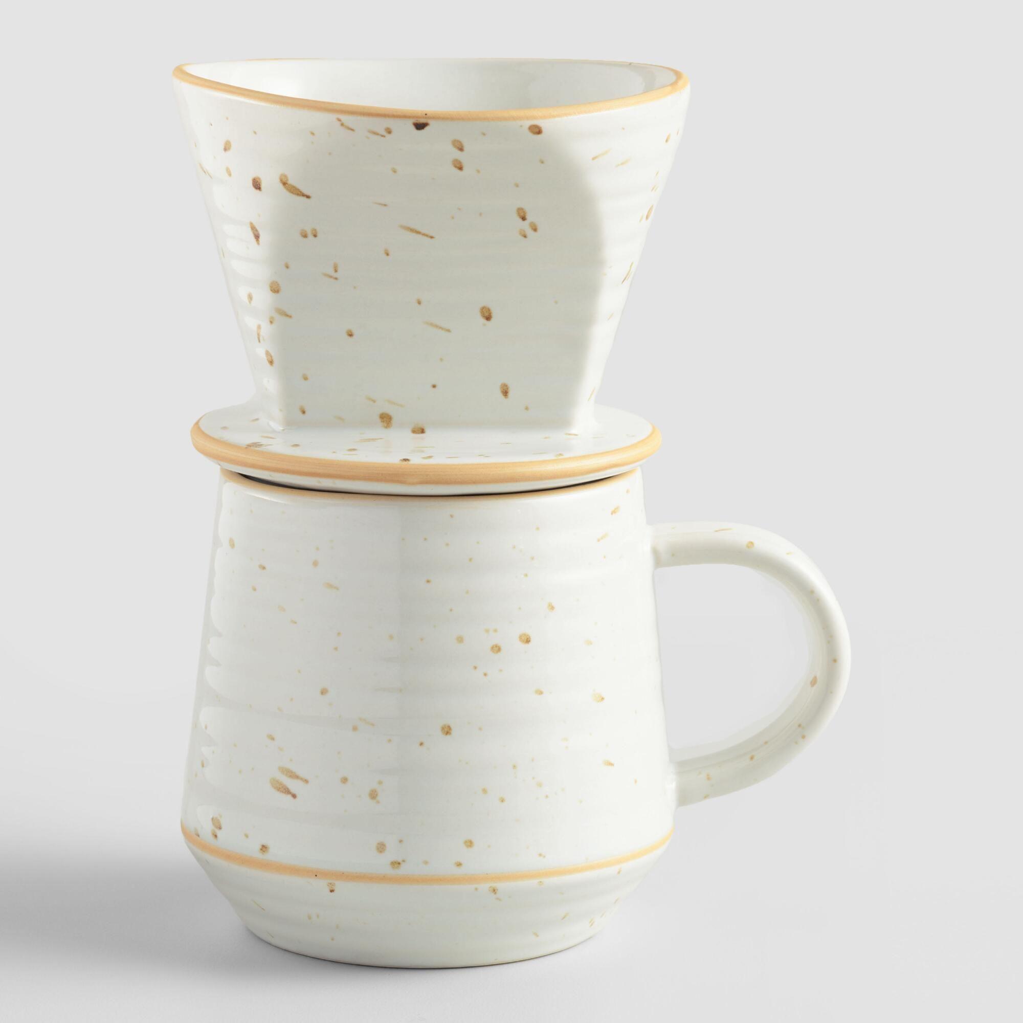 White Speckled Ceramic Pour Over Coffee Mug Set Coffee