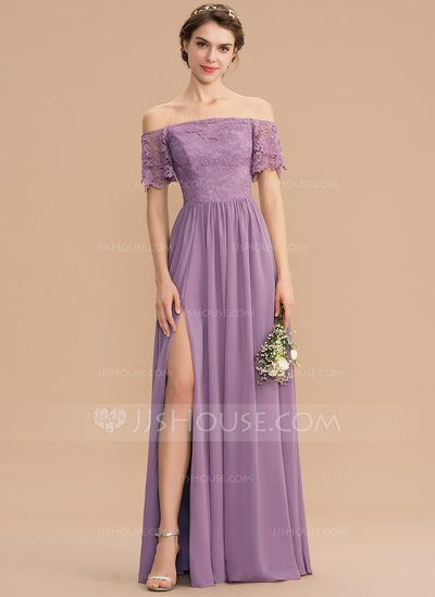[US$ 110.00] A-Line Off-the-Shoulder Floor-Length Chiffon Lace Bridesmaid Dress With Split Front (007165853) #lacebridesmaids