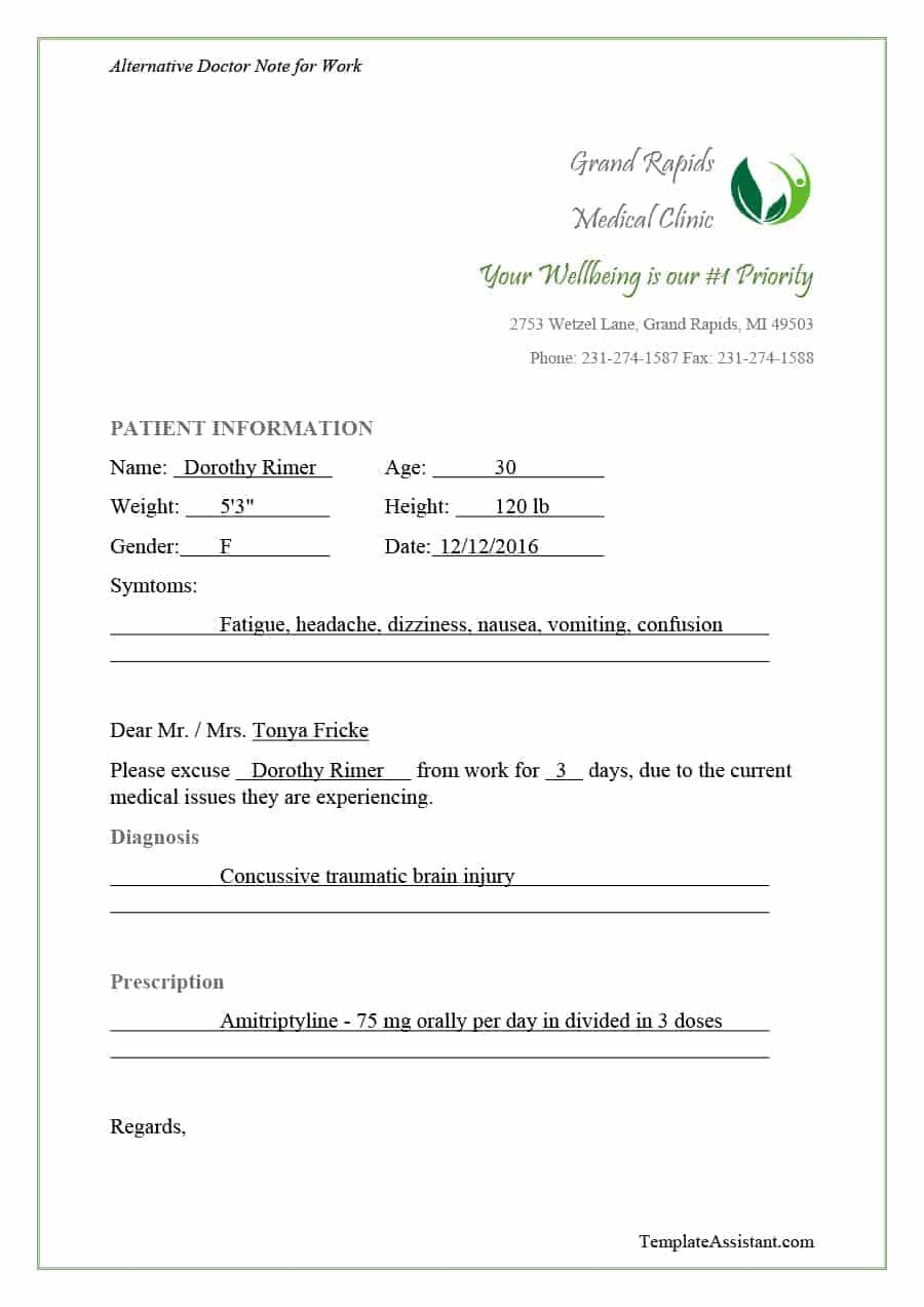 42 Fake Doctor S Note Templates For School Work Doctors Note