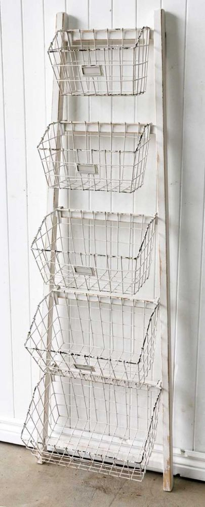 White Wooden Ladder Shelf With Baskets Vintage Hampton S Style French Provincial Beach Bathroom Decor Wooden Ladder Shelf Ladder Shelf