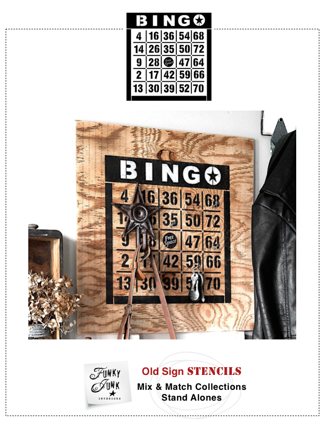"""BINGO Bold is styled with a nice, bold heading, inspired by an actual vintage design.- - - - -BINGO Bold is a 2 colour stencil, coming on two stencil sheets.Two sizes available / 10"""" or 14""""The small is the perfect size for totes or pillows.The large is amazing for a table top or wall art.- - - - -Subscribe to Funky Junk's Old Signs newsletter to keep up with new stencil additions!http://eepurl.com/-En0X- - - - -Select PRODUCTS to kee..."""