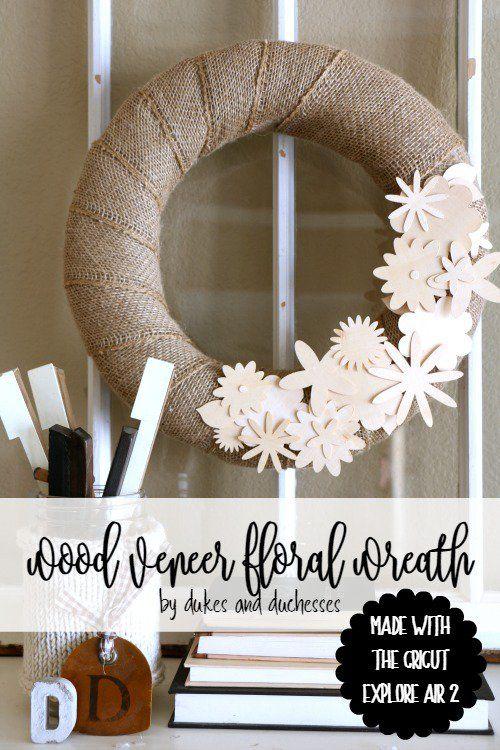 wood veneer floral wreath made with the cricut explore air 2 #ad #cricutmade