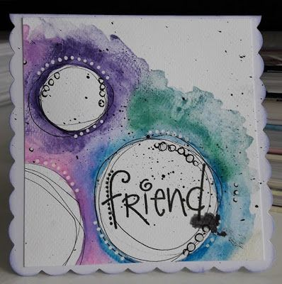 Fasters korthus: Friend - watercolour card