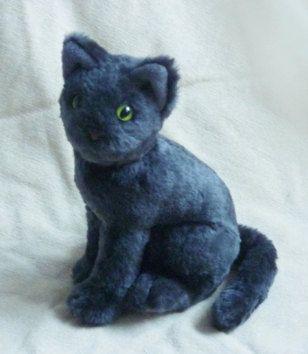 Realistic Grey Cat Plush Stuffed Animal Shopping Clothes