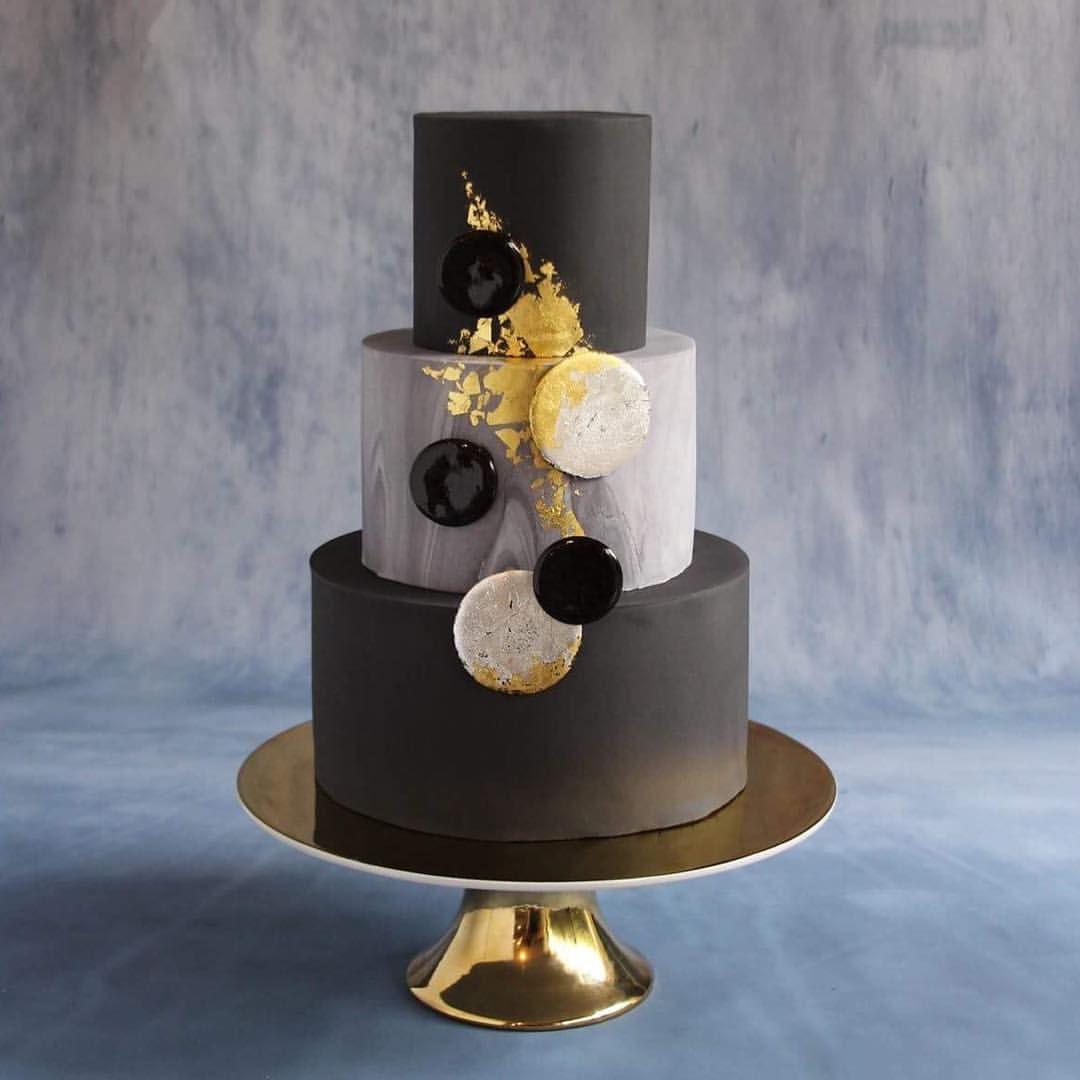 Black Gold Leaf Modern Cake Geometric