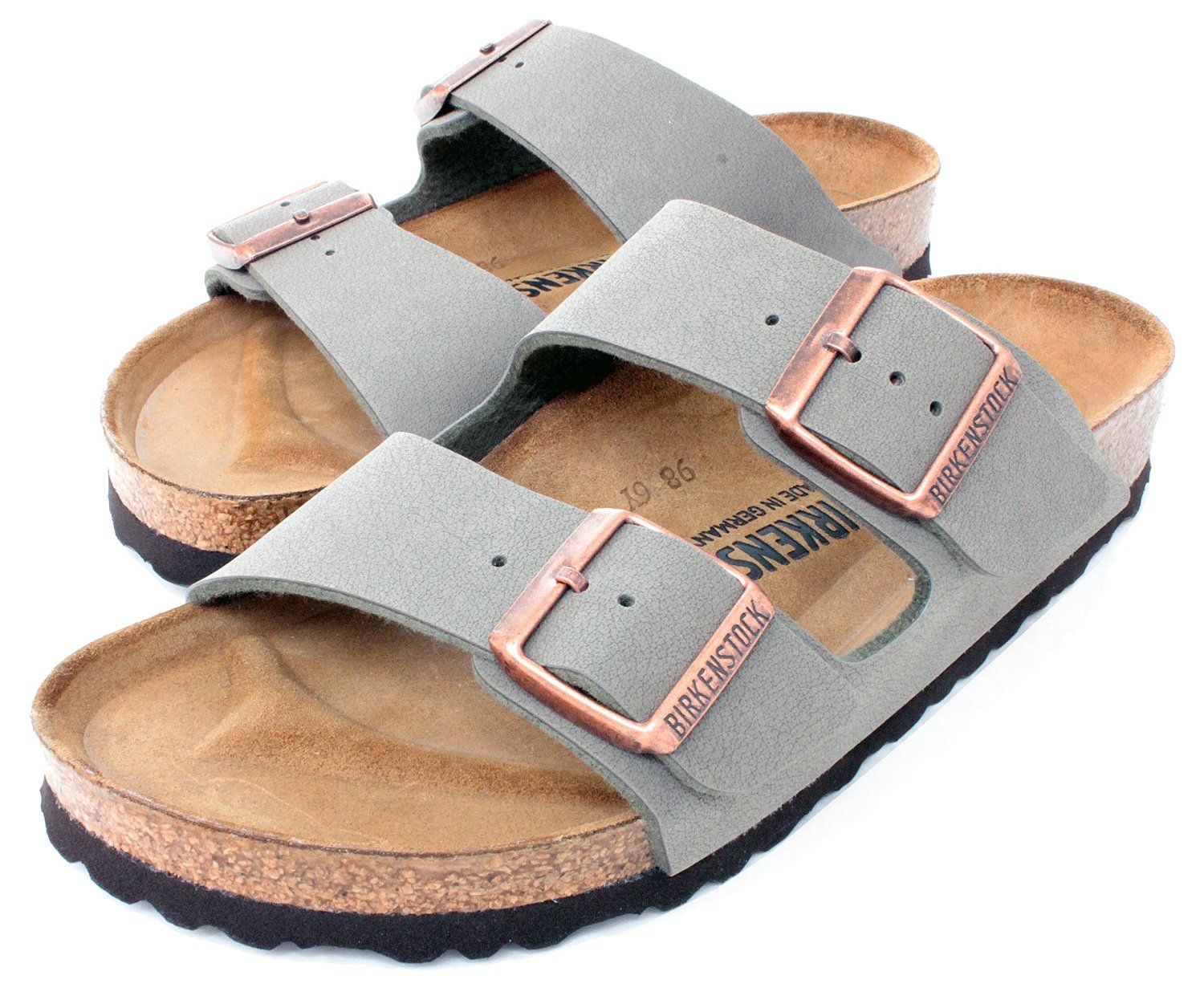 Birkenstock Arizona 2-Strap Women s Sandals in Stone Birko-Flor ... 6bf2a3025