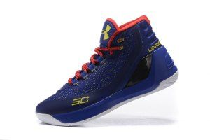 47f34fbe74a2 Mens Under Armour UA Steph Curry 3 Dark Blue Red White Basketball Shoes
