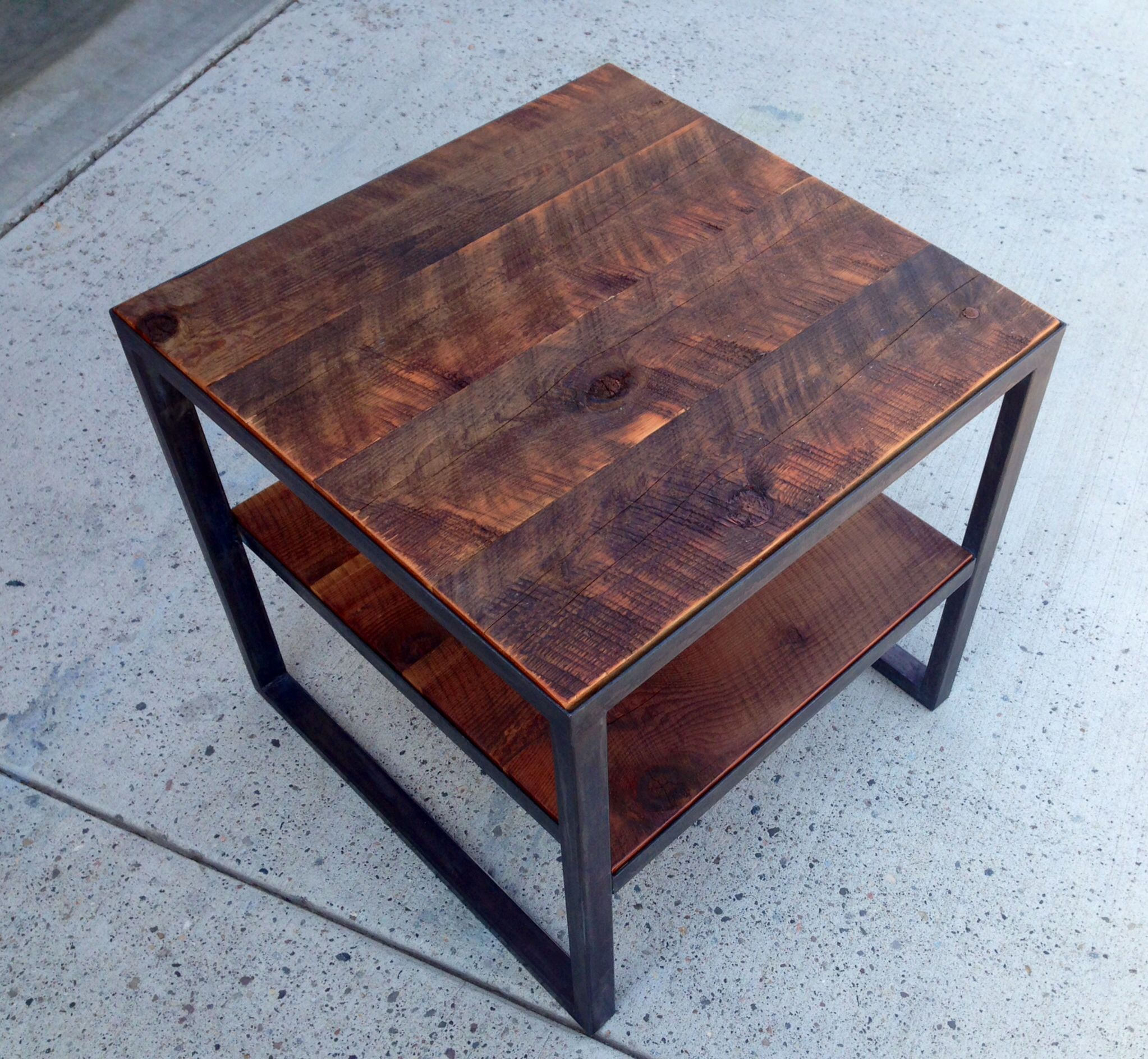 Angle Iron end table with reclaimed rough sawn barn wood. | Welding ...