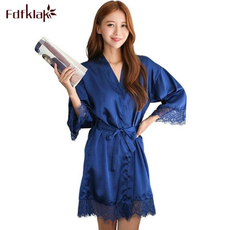 69ea62131b Fdfklak New bridesmaid robes casual silk lace sleepwear robe women spring  summer bathrobe women s nightwear bath robes female. Yesterday s price  US   34.31 ...