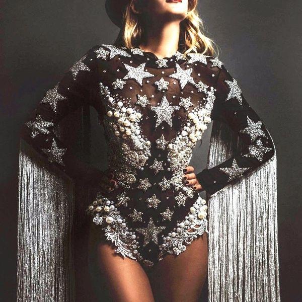 Gray Tassel Crystals Stars Bodysuit Women Stage Dance Fringes Leotard Nightclub Party Female Singer Costume Celebrate Outfit | Wish