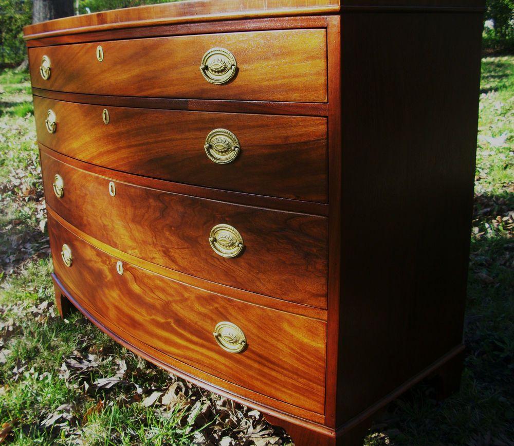 Baker Georgian English Hepplewhite Style Bowfront Mahogany Antique Chest Dresser