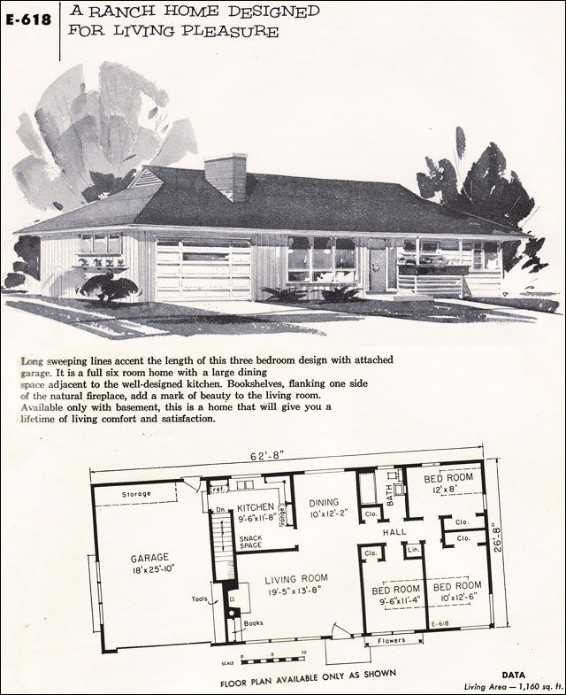 55nps E618 Jpg 640 785 Craftsman House Plans Ranch Style Homes Vintage House Plans