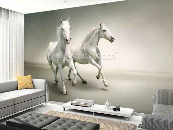 White Horses Wallpaper Wallsauce Uk Horse Mural Horse Wall Horse Themed Bedrooms