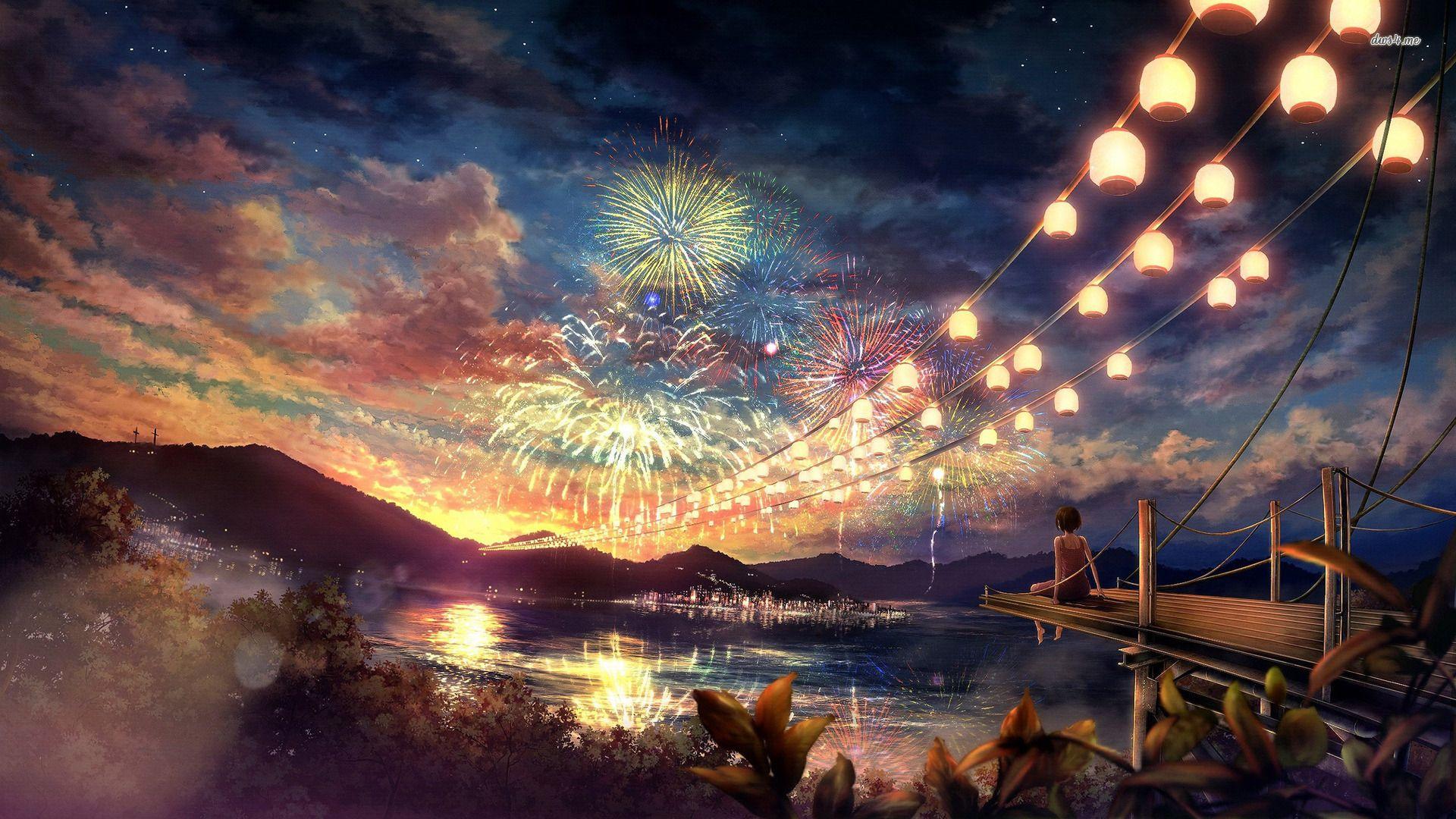 Girl Watching The Fireworks Wallpaper 背景画 風景 綺麗な風景