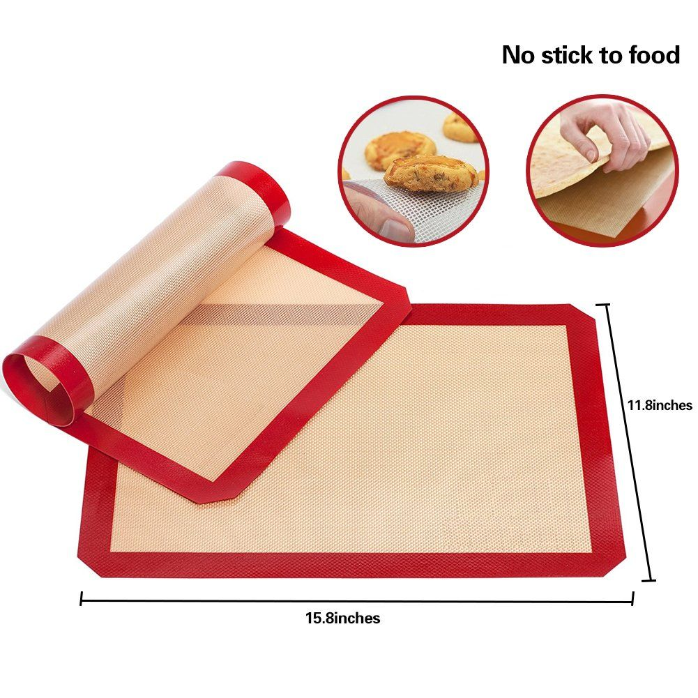 Timedeer Baking Mat Reusable 2 Pack Nonstick Fiberglass And Food Grade Heat Resistant Silicone Baking Bakeware Set Silicone Baking Mat Heat Resistant Silicone