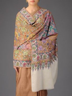 b894ec287 Kashmir Tafta Pashmina Hand Spun Woven Fine Embroidery Toto Jama All-over  Shawl by Aditi via Jaypore