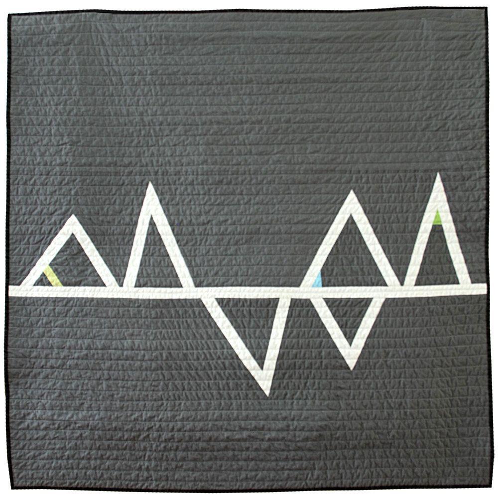 Modern Geometric Baby Quilt - Grey Triangles. by Barbara Perrino