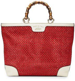 4ff3e16431827b Gucci Bamboo Shopper Straw Tote Bag, Red/White on shopstyle.com ...