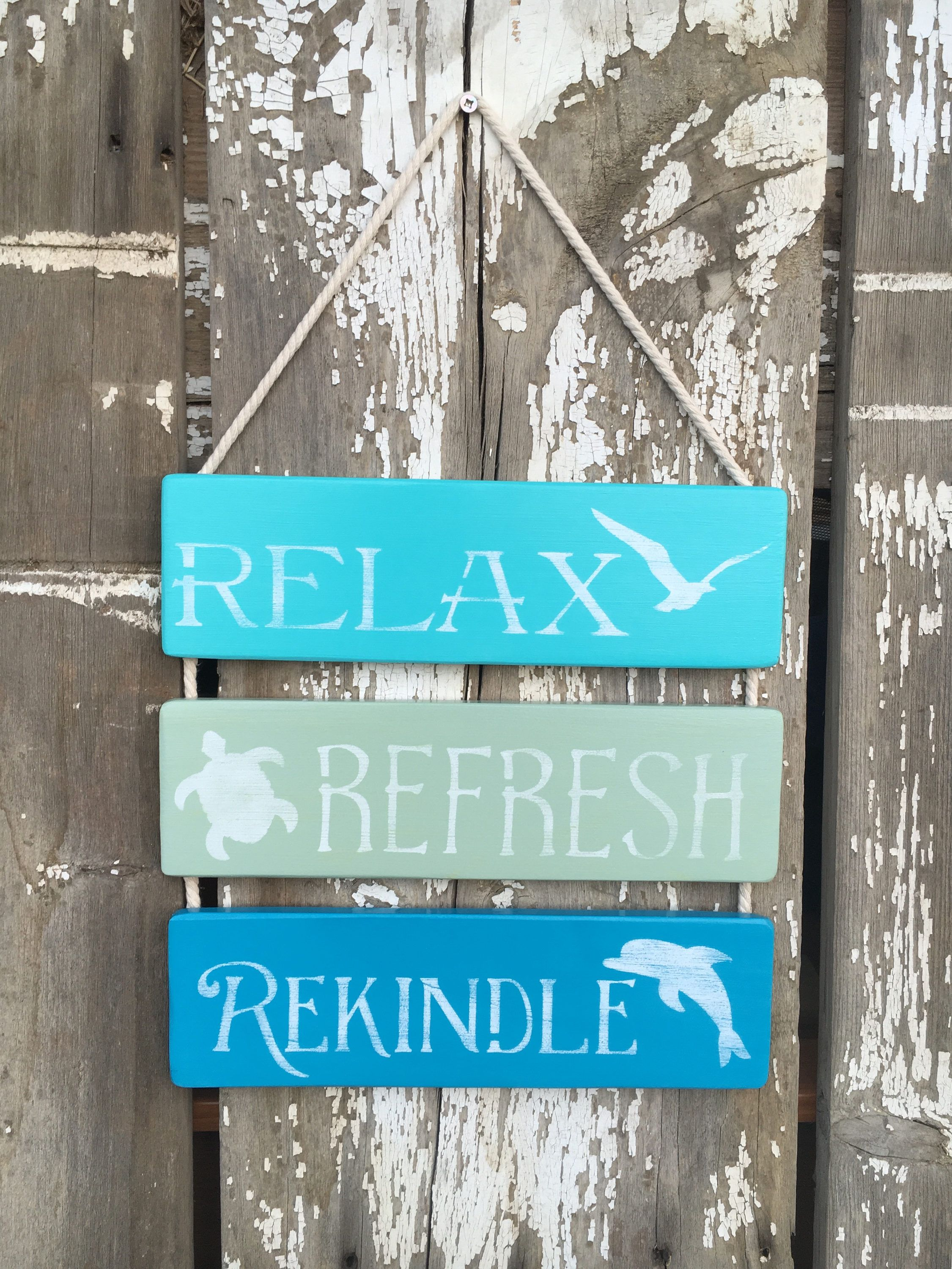 Beach Sign Decor Pleasing Relax Refresh Rekindle Sign Coastal Sign Decor Bathroom Sign Decorating Design