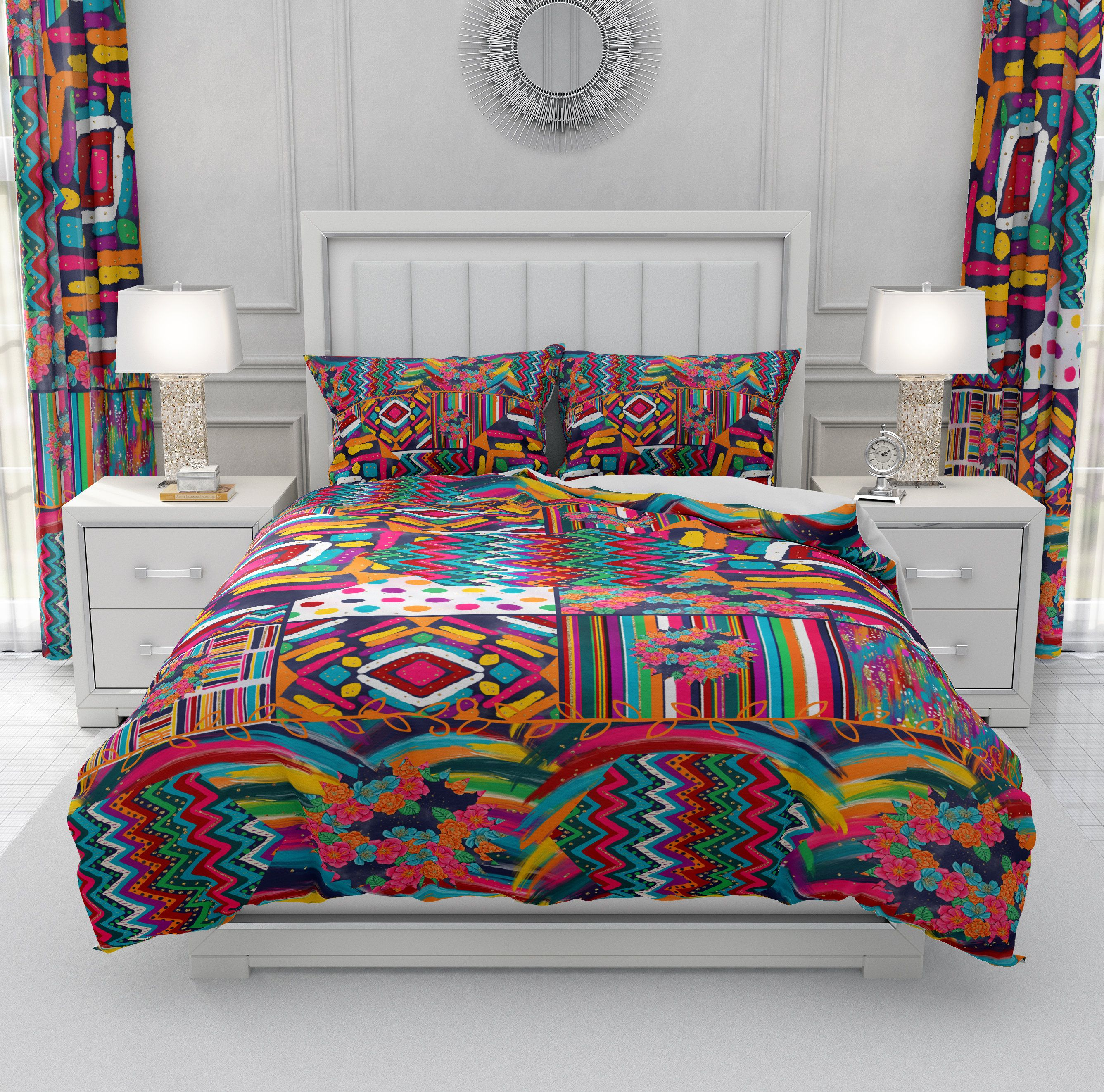 Geometric Colorful Boho Bedding Set Comforter Or Duvet Cover Etsy Colorful Bedding Handmade Duvet Covers Boho Bedding Sets