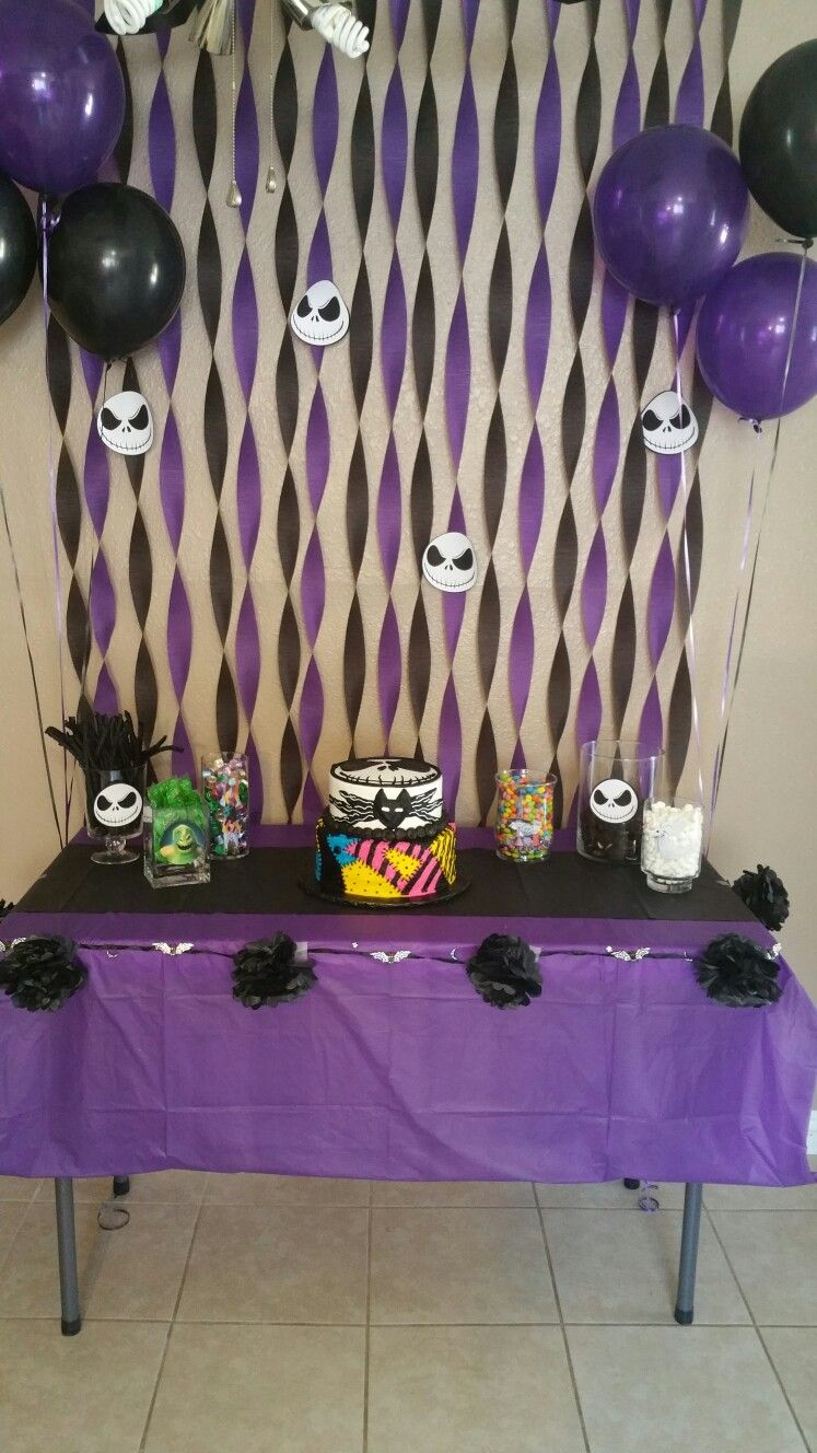 Jack Skellington Party Cake And Candy Table Christmas Birthday