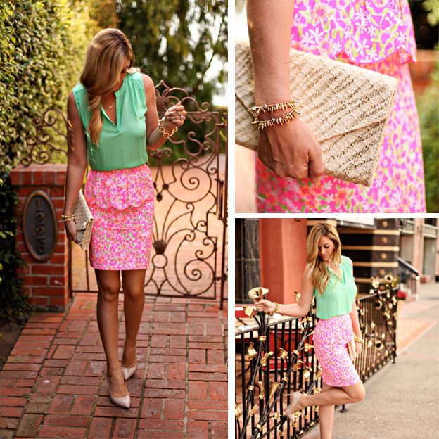 Caitlin from A Little Dash of Darling in our Thyme Skirt in Fiesta Pink Everything Nice Small