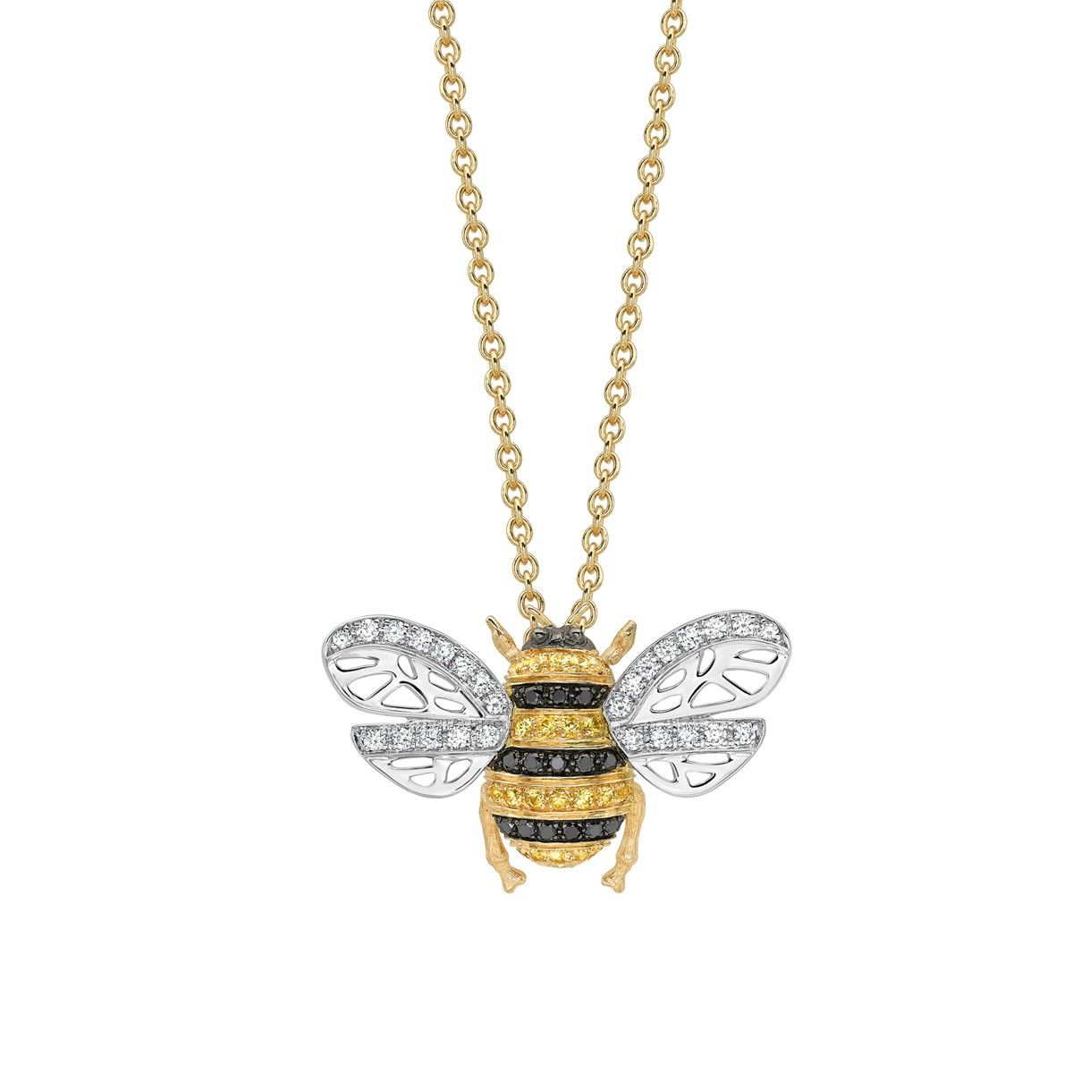 7b2d8247208ce Black Diamond & Yellow Sapphire Bee Necklace - Part of the new Beees ...