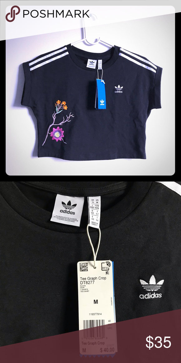 be450d34c Adidas Women's Tee Graphic Crop Size M Condition: New with tag Size: M  Color: Black Material: 93% cotton 7% spandex adidas Tops Crop Tops