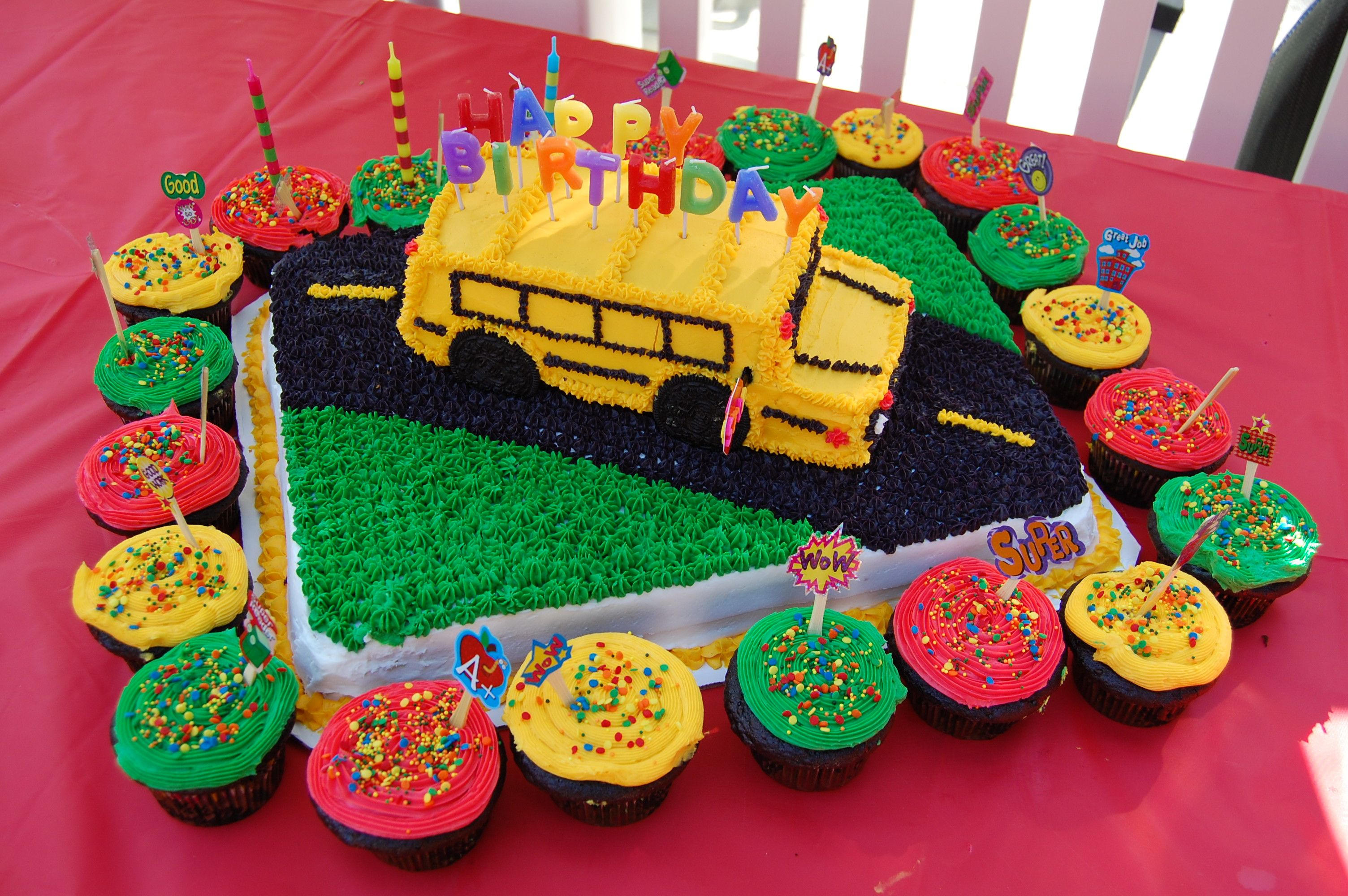 Back To School Birthday Party Bus Cake