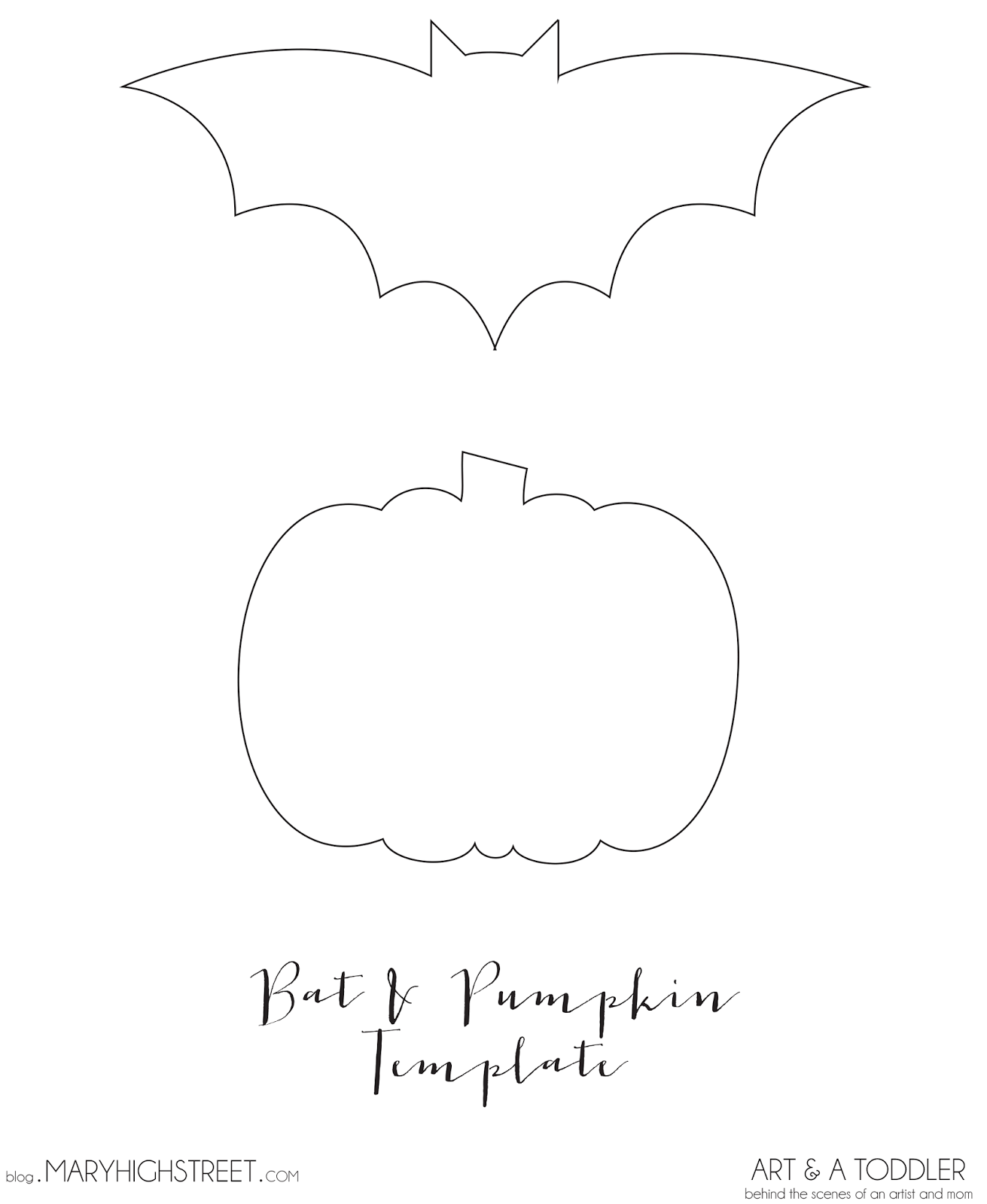 Bat and Pumpkin Template || Halloween Crafts for Toddlers || Art and ...