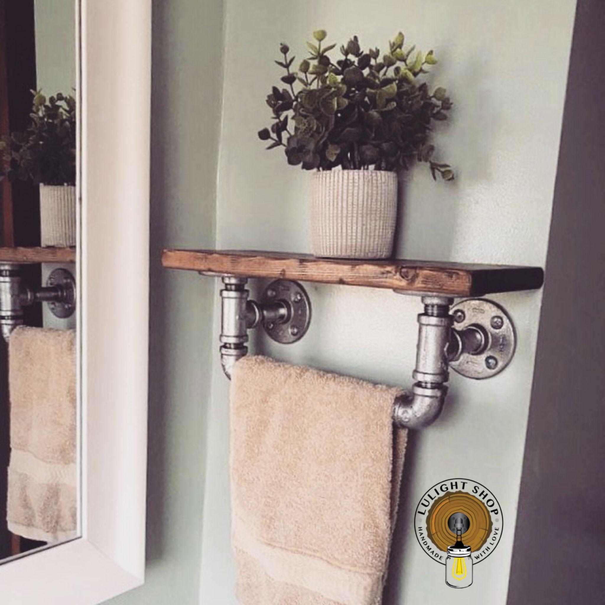 Handmade Towel Holder With Shelf Bathroom Decor