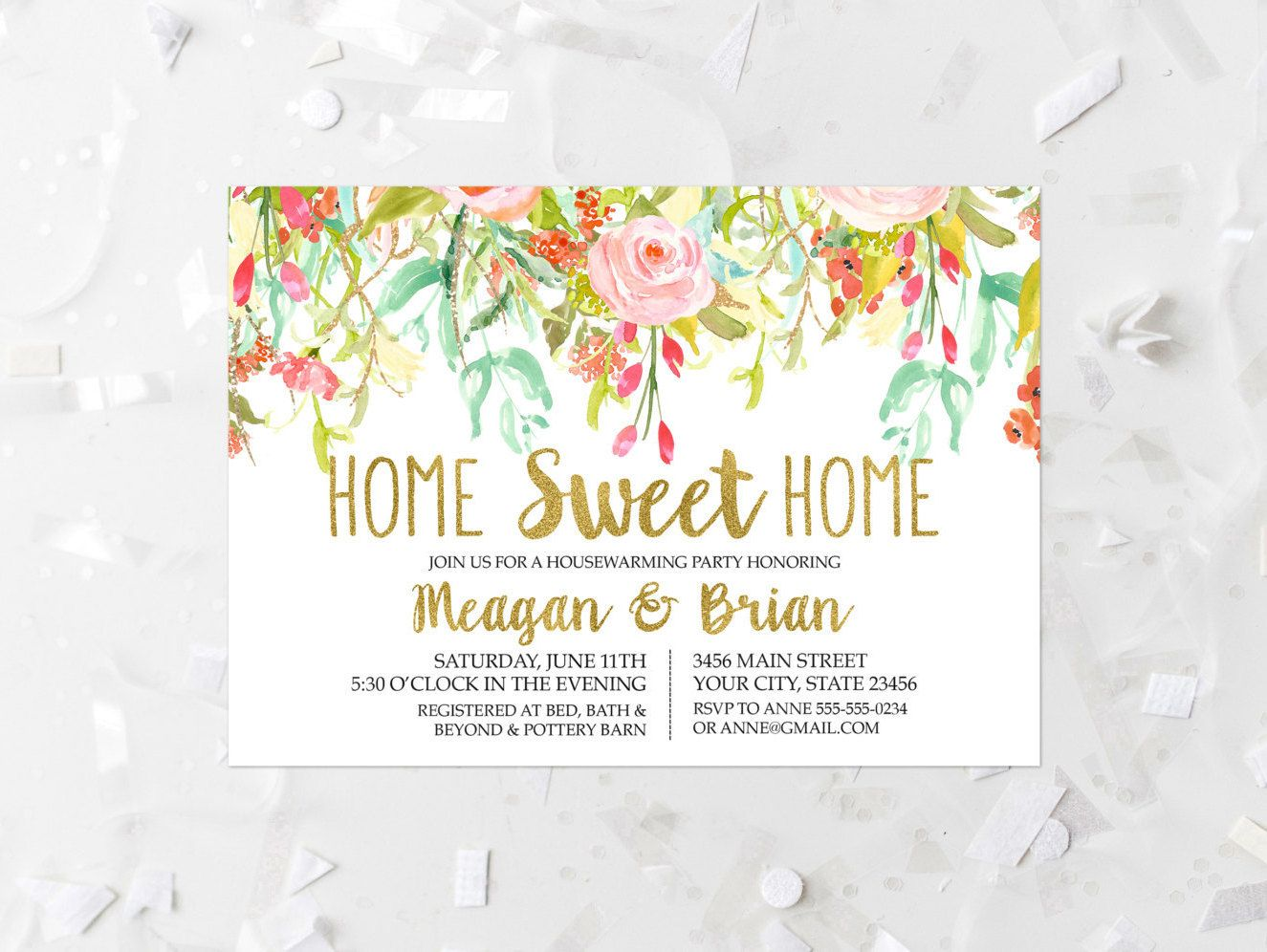 Floral Housewarming Party Invitation Printable Spring Floral