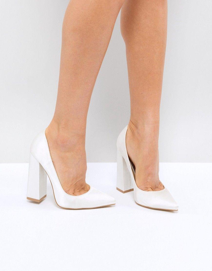 Be mine bridal adeline ivory satin block heeled pumps