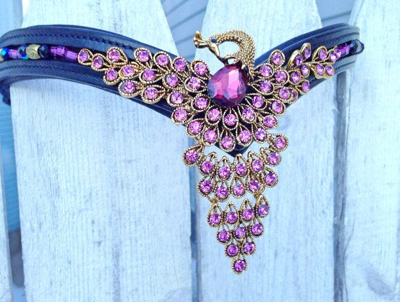 Purple Peacock Browband for Horse Bridle by OkoKoniaBrowbands